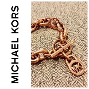 Michael Kors Rose Gold Logo Toggle Bracelet